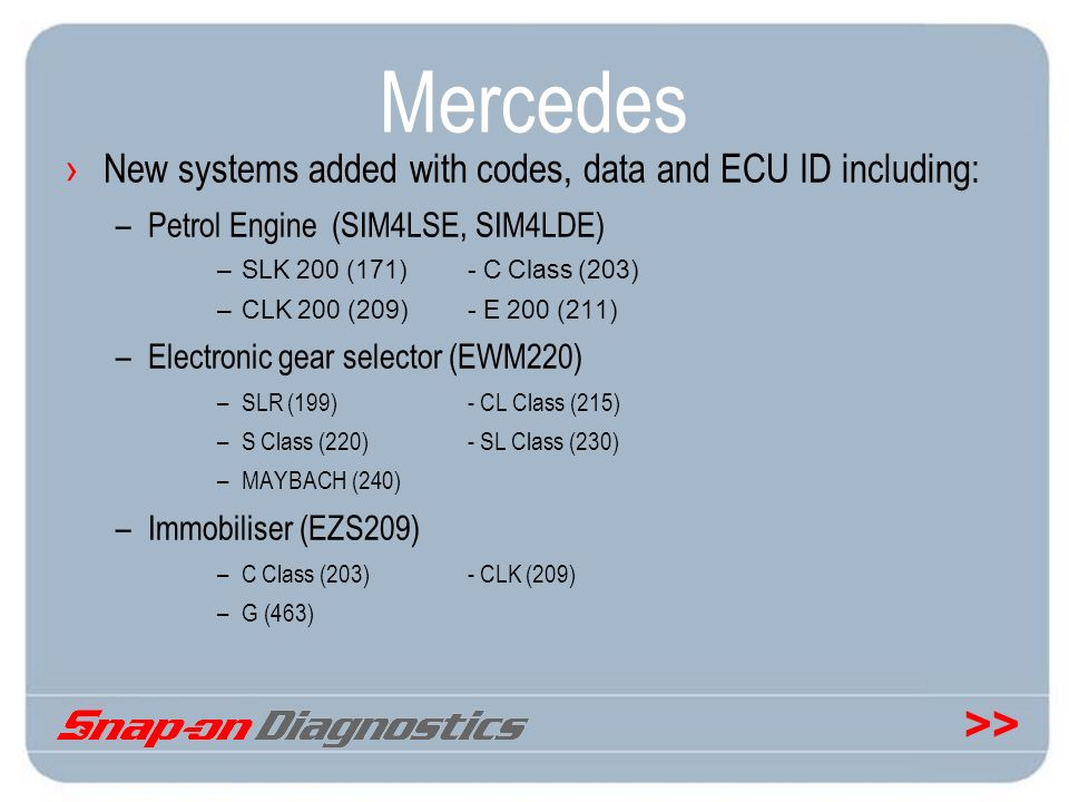 >> Mercedes New systems added with codes, data and ECU ID including: –Petrol Engine (SIM4LSE, SIM4LDE) –SLK 200 (171)- C Class (203) –CLK 200 (209)- E