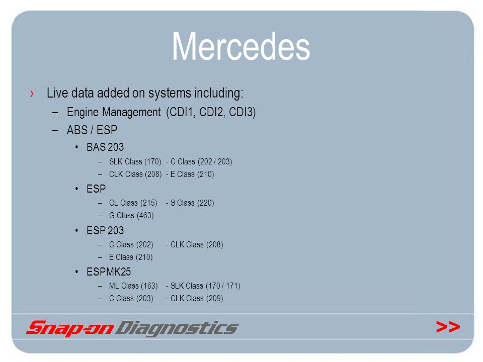 >> Mercedes Live data added on systems including: –Engine Management (CDI1, CDI2, CDI3) –ABS / ESP BAS 203 –SLK Class (170)- C Class (202 / 203) –CLK