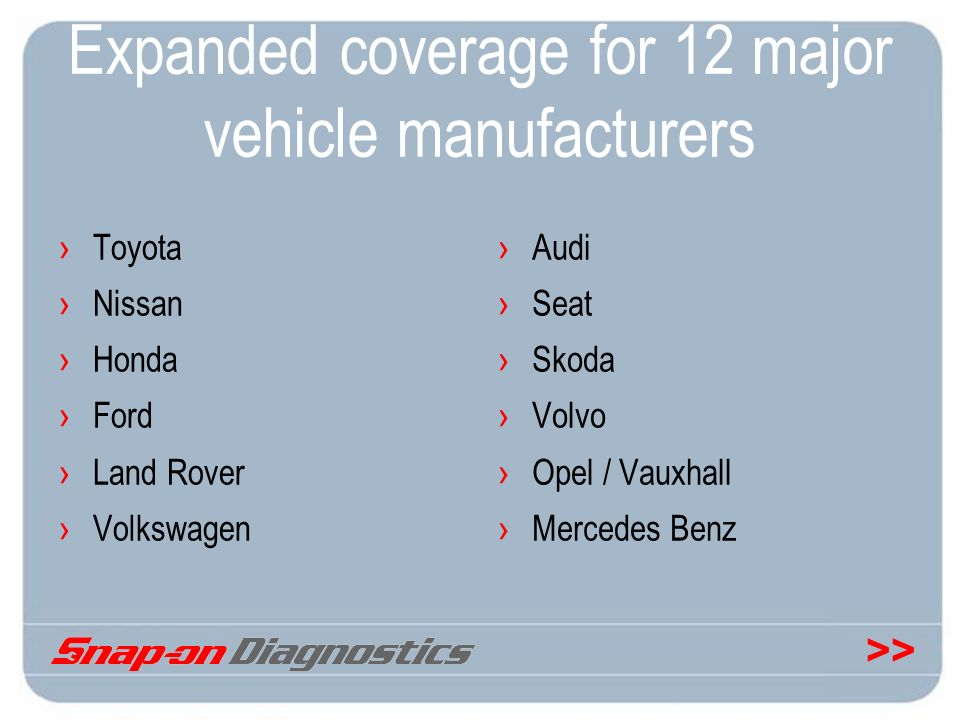 >> Expanded coverage for 12 major vehicle manufacturers Toyota Nissan Honda Ford Land Rover Volkswagen Audi Seat Skoda Volvo Opel / Vauxhall Mercedes