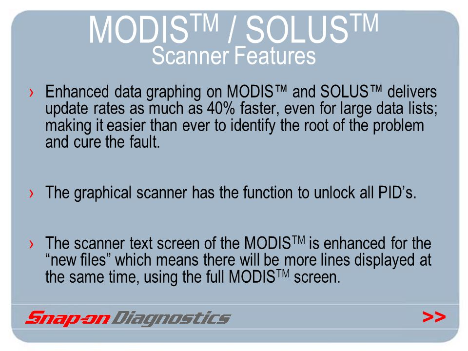 >> MODIS TM / SOLUS TM Scanner Features Enhanced data graphing on MODIS and SOLUS delivers update rates as much as 40% faster, even for large data lis
