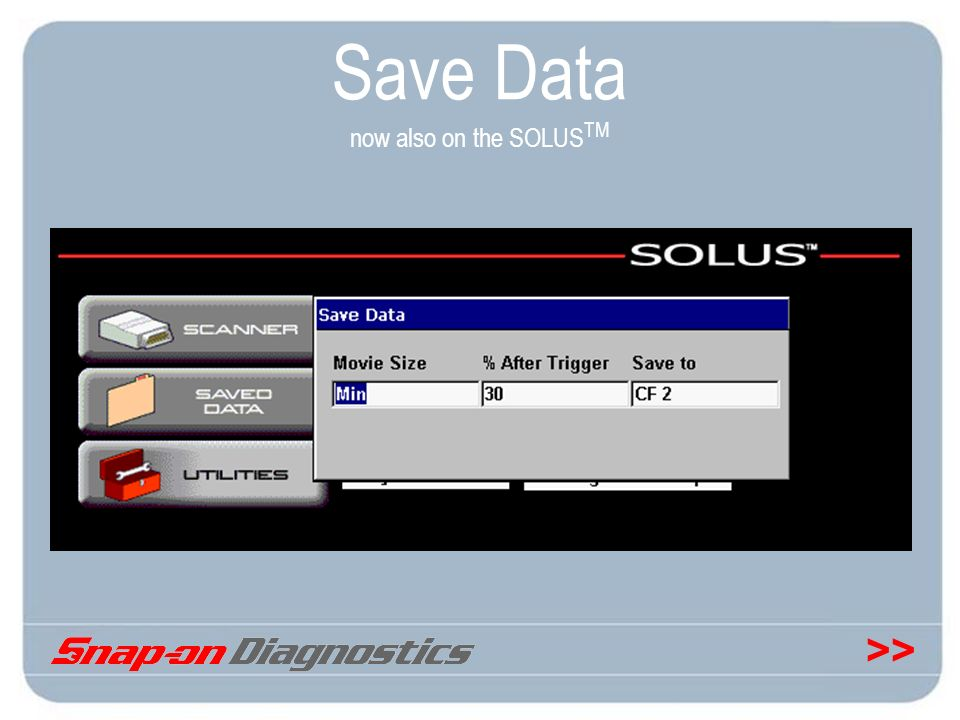 >> Save Data now also on the SOLUS TM
