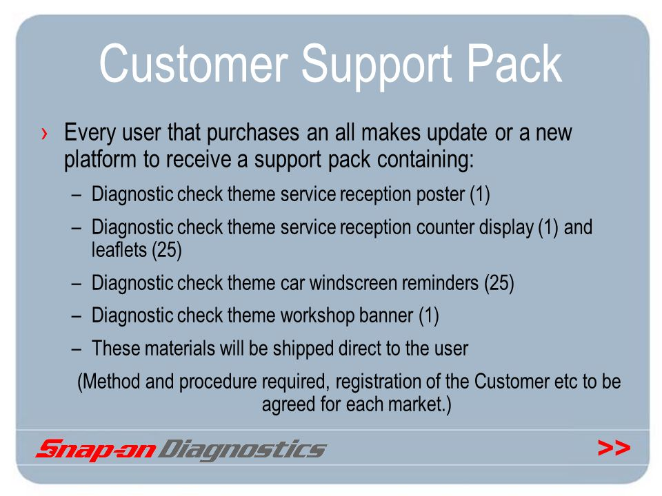 >> Customer Support Pack Every user that purchases an all makes update or a new platform to receive a support pack containing: –Diagnostic check theme