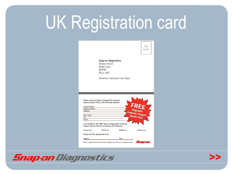 >> UK Registration card