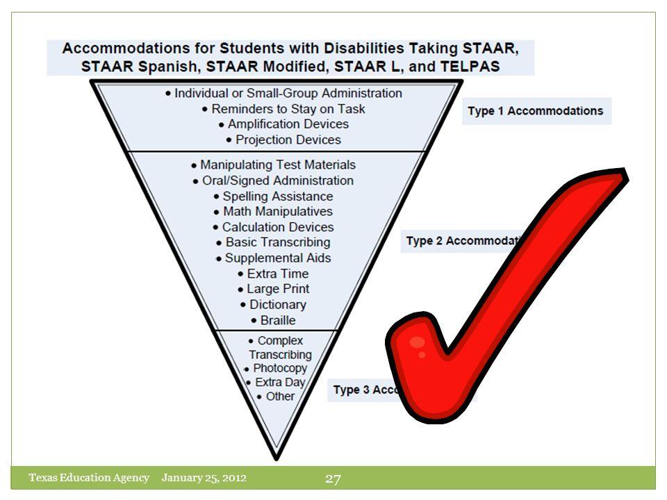 Texas Education Agency January 25, 2012 27