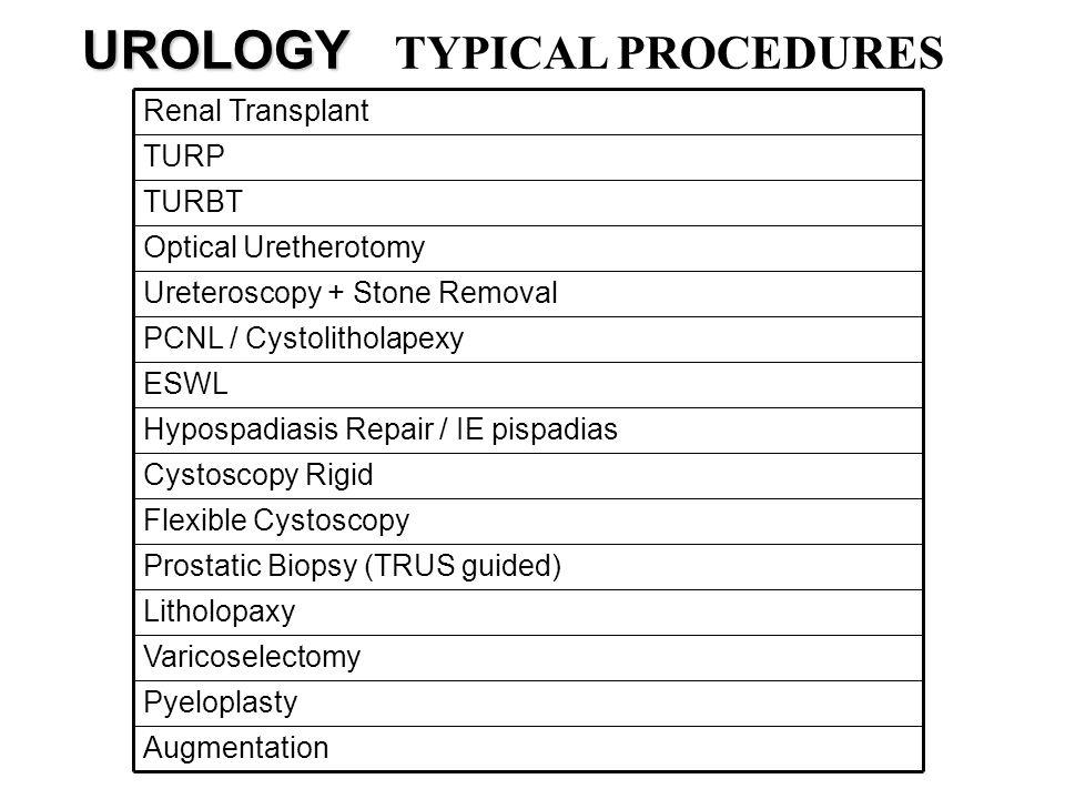 UROLOGY UROLOGY TYPICAL PROCEDURES Augmentation Pyeloplasty Varicoselectomy Litholopaxy Prostatic Biopsy (TRUS guided) Flexible Cystoscopy Cystoscopy
