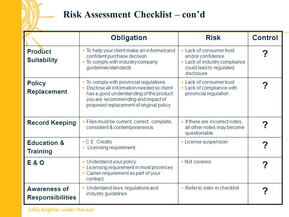 Risk Assessment Checklist – cond ObligationRiskControl Product Suitability To help your client make an informed and confident purchase decision To comply with industry/company guidelines/standards Lack of consumer trust and/or confidence Lack of industry compliance could lead to regulated disclosure .