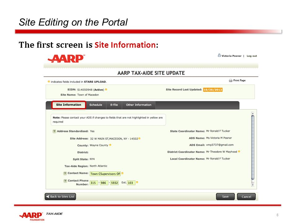 6 Site Editing on the Portal The first screen is Site Information :