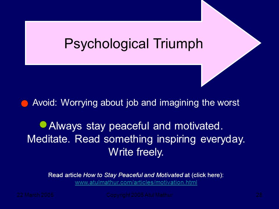 22 March 2005Copyright 2005 Atul Mathur28 Psychological Triumph Avoid: Worrying about job and imagining the worst Always stay peaceful and motivated.