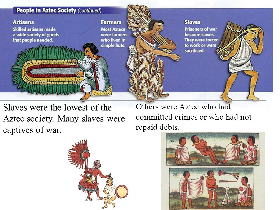 Slaves were the lowest of the Aztec society. Many slaves were captives of war. Others were Aztec who had committed crimes or who had not repaid debts.