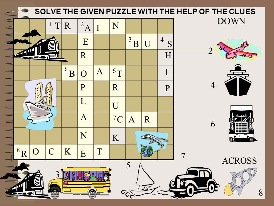 SOLVE THE GIVEN PUZZLE WITH THE HELP OF THE CLUES DOWN ACROSS T R U K C A R P E O L N A E TR I N BU S HIPHIP AR B A O R CKT
