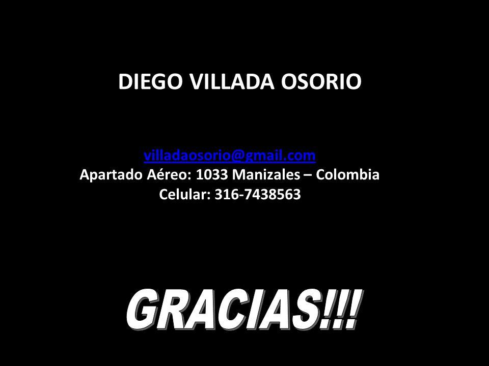 DIEGO VILLADA OSORIO villadaosorio@gmail.com Apartado Aéreo: 1033 Manizales – Colombia Celular: 316-7438563