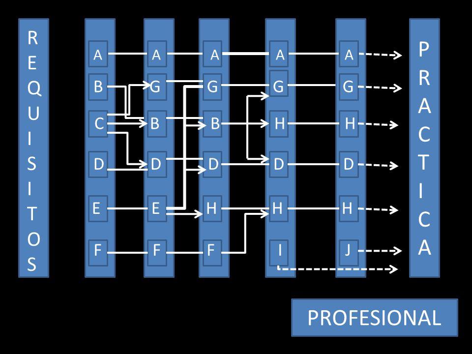 REQUISITOSREQUISITOS A A A A A B G G G G C B B H H D D D D D E E H H H F F F I J PRACTICAPRACTICA PROFESIONAL