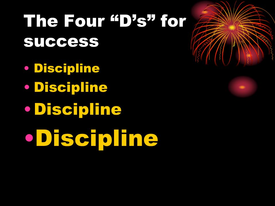 The Four Ds for success Discipline