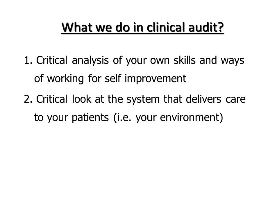 15 The main methods used in audit of the quality of care are: Direct observation Checklists Documentation audit Questionnaires Interviews Case review