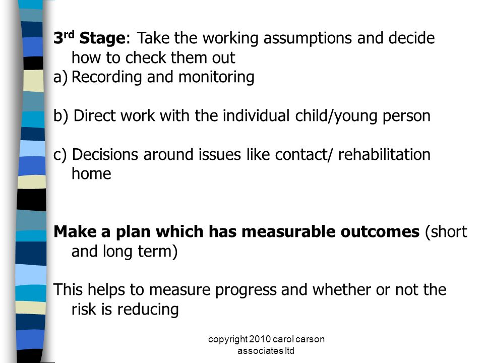 copyright 2010 carol carson associates ltd 3 rd Stage: Take the working assumptions and decide how to check them out a)Recording and monitoring b) Dir