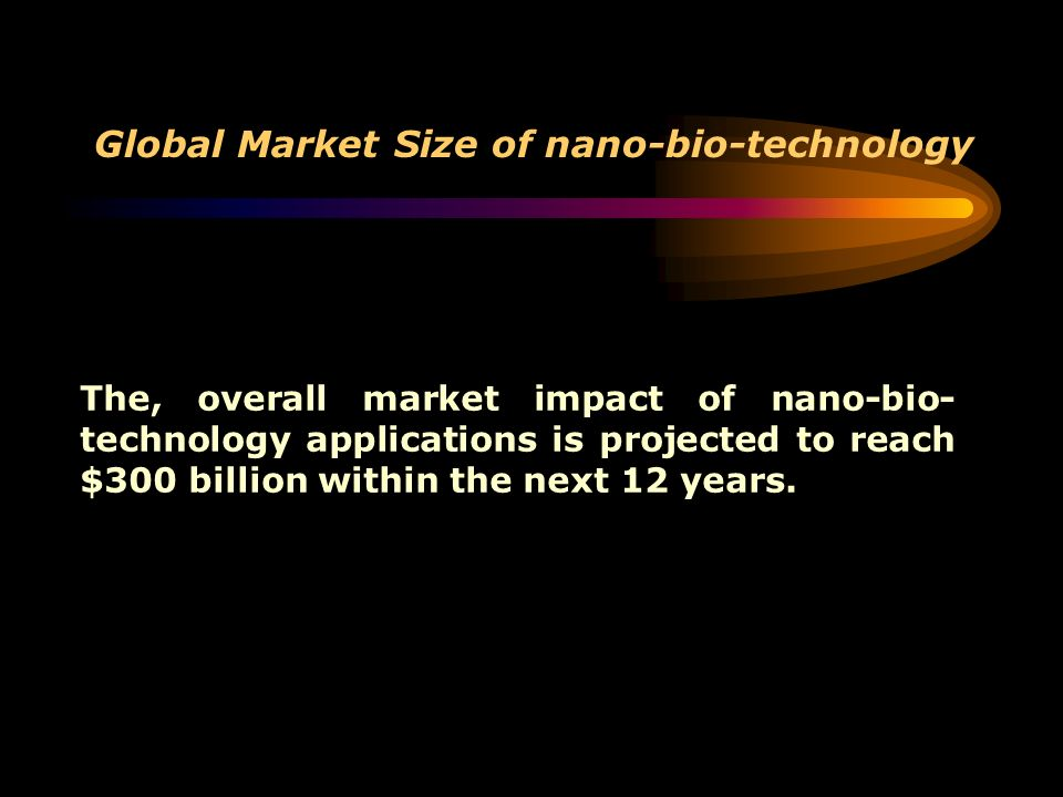 Global Market Size of nano-bio-technology The, overall market impact of nano-bio- technology applications is projected to reach $300 billion within th