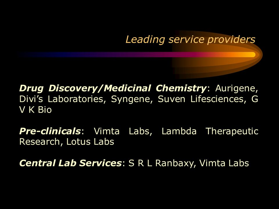 Leading service providers Drug Discovery/Medicinal Chemistry: Aurigene, Divis Laboratories, Syngene, Suven Lifesciences, G V K Bio Pre-clinicals: Vimt