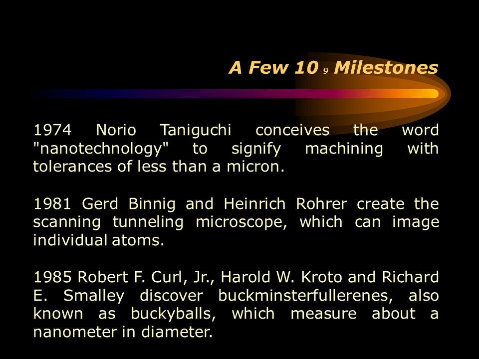 A Few 10 -9 Milestones 1974 Norio Taniguchi conceives the word