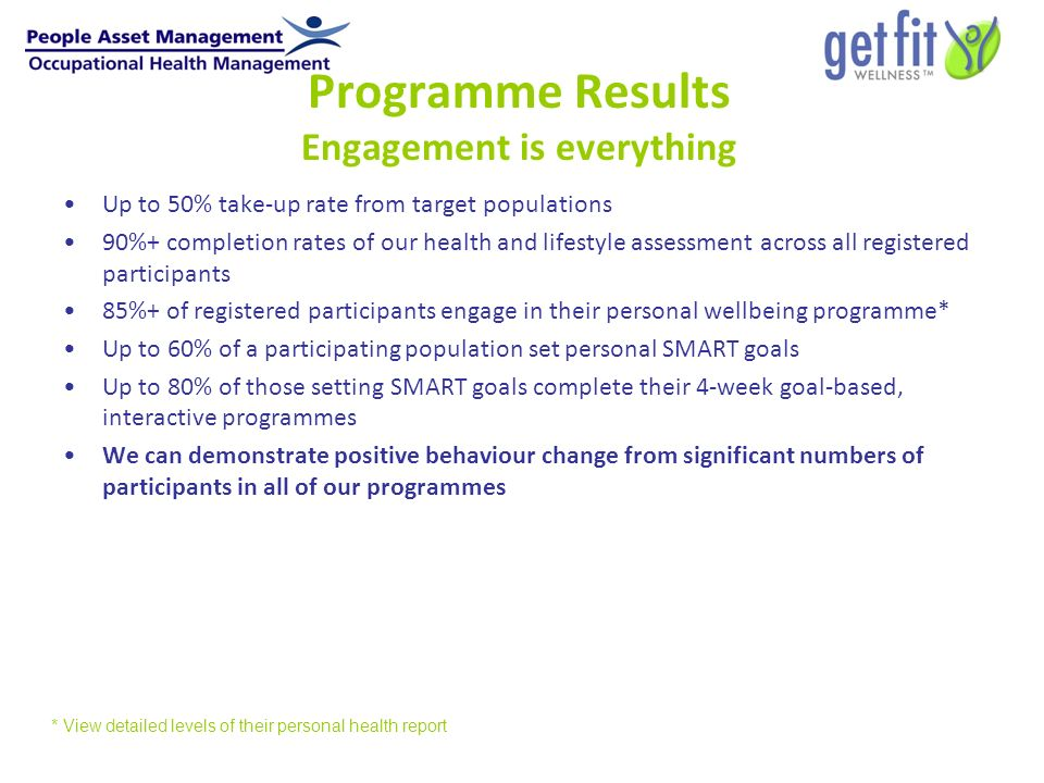 Programme Results Engagement is everything Up to 50% take-up rate from target populations 90%+ completion rates of our health and lifestyle assessment across all registered participants 85%+ of registered participants engage in their personal wellbeing programme* Up to 60% of a participating population set personal SMART goals Up to 80% of those setting SMART goals complete their 4-week goal-based, interactive programmes We can demonstrate positive behaviour change from significant numbers of participants in all of our programmes * View detailed levels of their personal health report