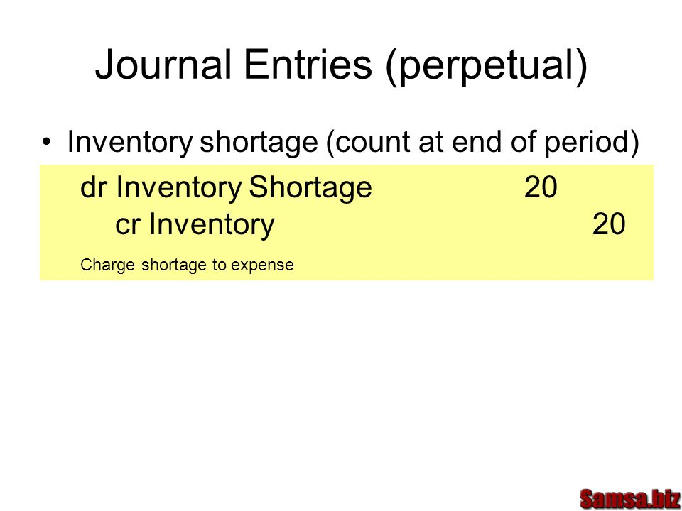 Journal Entries (perpetual) Inventory shortage (count at end of period) dr Inventory Shortage20 cr Inventory20 Charge shortage to expense
