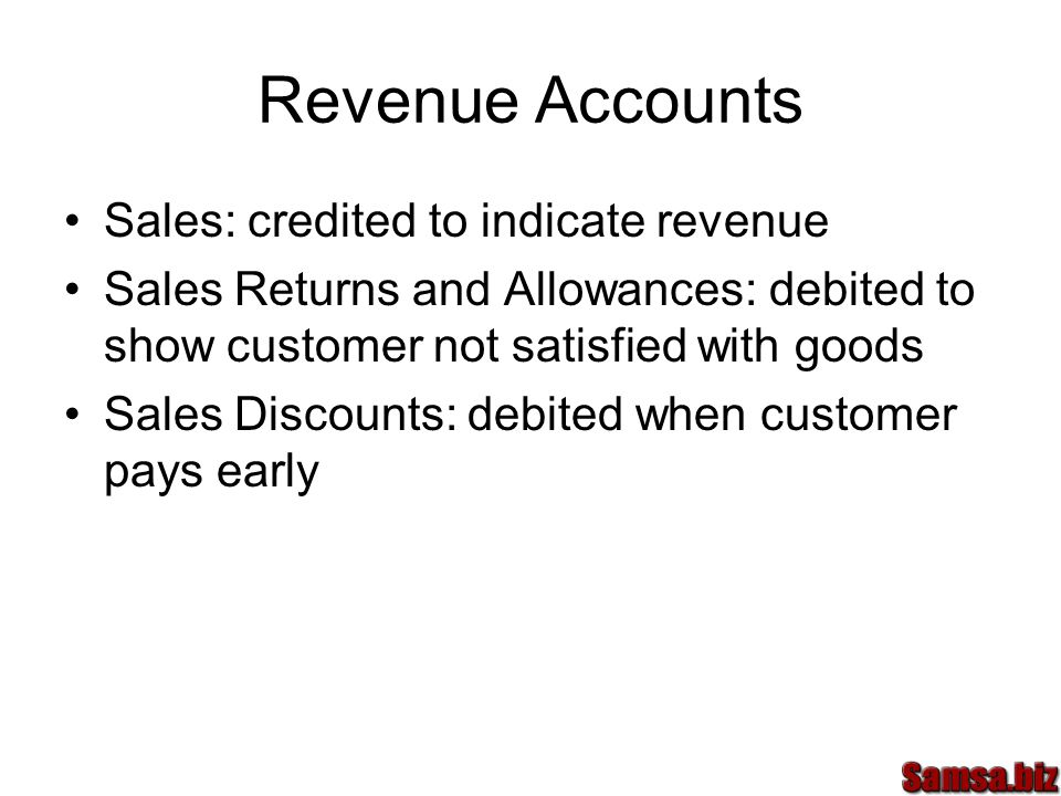 Revenue Accounts Sales: credited to indicate revenue Sales Returns and Allowances: debited to show customer not satisfied with goods Sales Discounts: