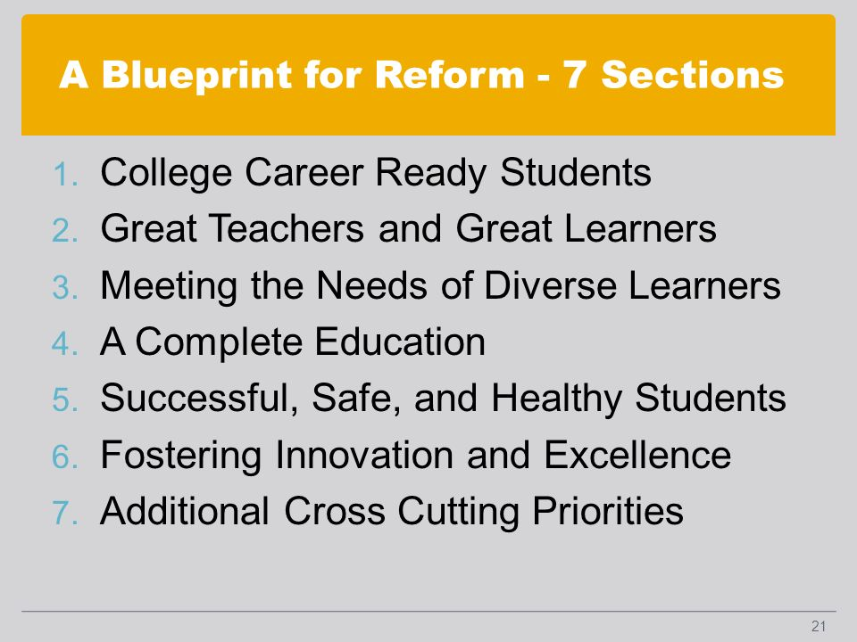 A Blueprint for Reform - 7 Sections 1. College Career Ready Students 2.