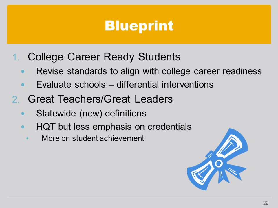 Blueprint 1. College Career Ready Students Revise standards to align with college career readiness Evaluate schools – differential interventions 2. Gr