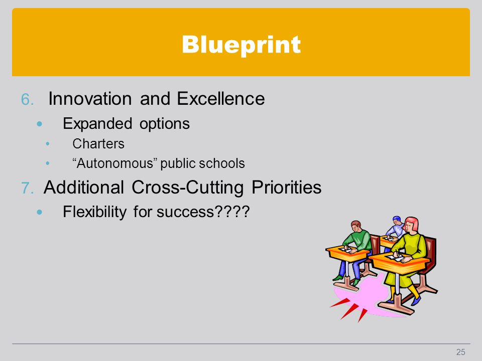 Blueprint 6. Innovation and Excellence Expanded options Charters Autonomous public schools 7.