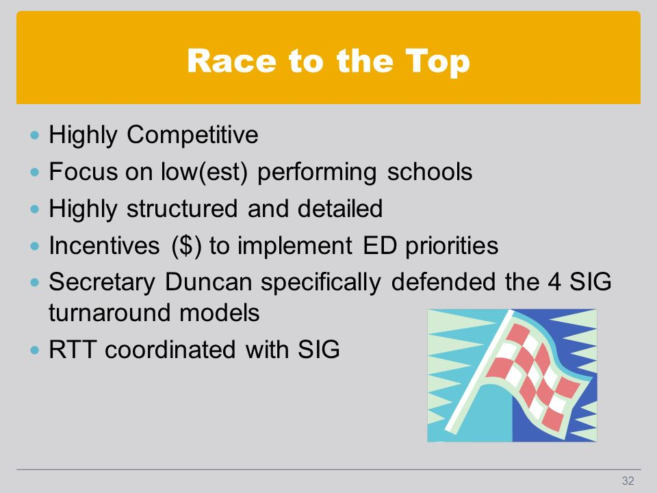 Race to the Top Highly Competitive Focus on low(est) performing schools Highly structured and detailed Incentives ($) to implement ED priorities Secretary Duncan specifically defended the 4 SIG turnaround models RTT coordinated with SIG 32