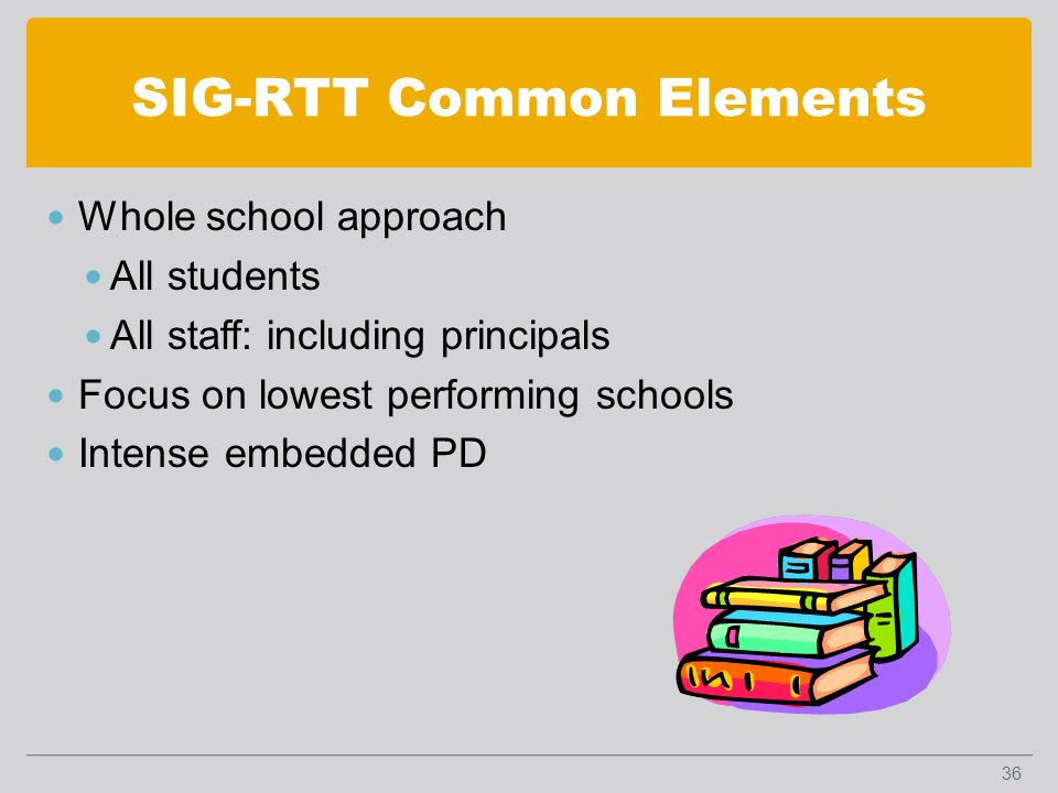 SIG-RTT Common Elements Whole school approach All students All staff: including principals Focus on lowest performing schools Intense embedded PD 36