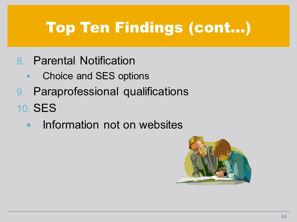 Top Ten Findings (cont…) 8. Parental Notification Choice and SES options 9.