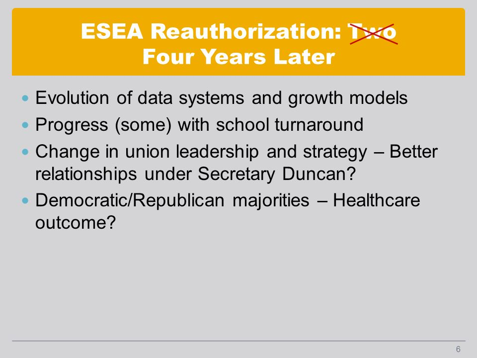 ESEA Reauthorization: Two Four Years Later Evolution of data systems and growth models Progress (some) with school turnaround Change in union leadership and strategy – Better relationships under Secretary Duncan.