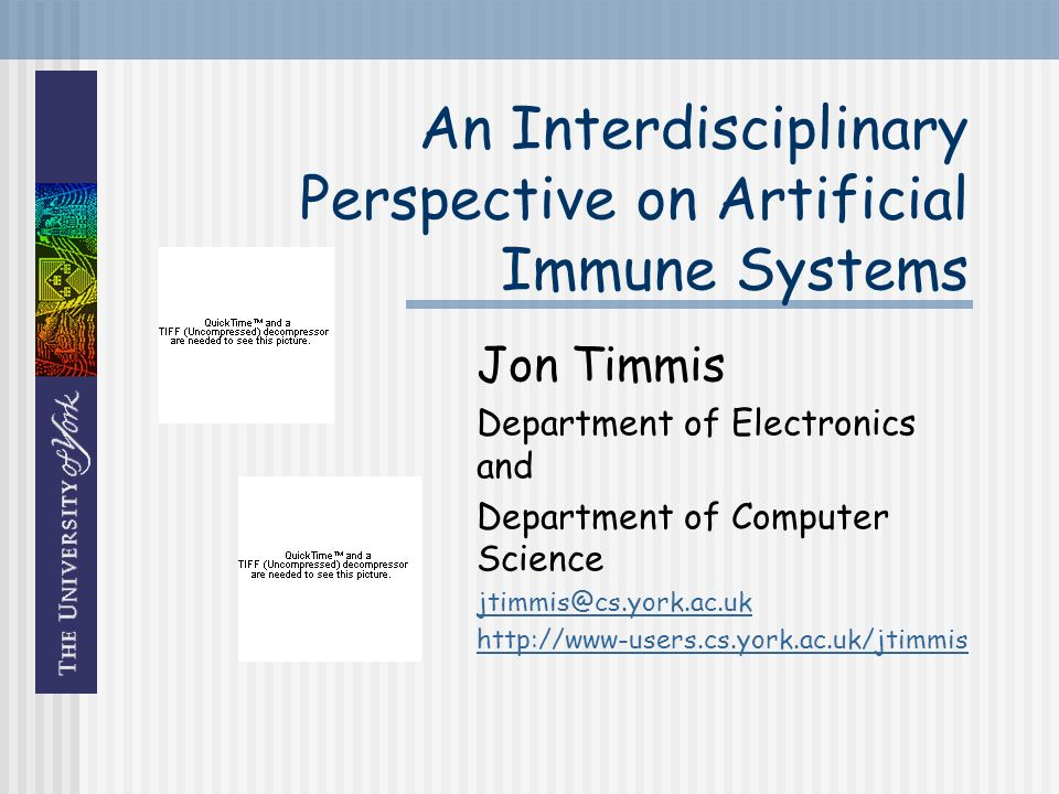 An Interdisciplinary Perspective on Artificial Immune Systems Jon Timmis Department of Electronics and Department of Computer Science jtimmis@cs.york.ac.uk http://www-users.cs.york.ac.uk/jtimmis