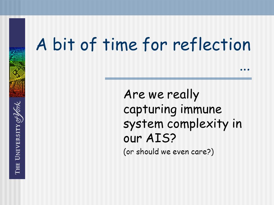 A bit of time for reflection … Are we really capturing immune system complexity in our AIS.