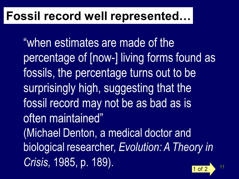 11 Fossil record well represented… when estimates are made of the percentage of [now-] living forms found as fossils, the percentage turns out to be s
