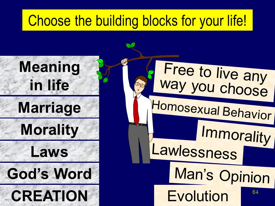 64 CREATION Gods Word Laws Morality Marriage Immorality Lawlessness Mans Opinion Evolution Homosexual Behavior Meaning in life Free to live any way yo