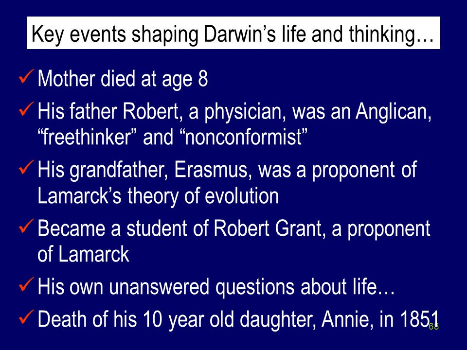 68 Mother died at age 8 His father Robert, a physician, was an Anglican, freethinker and nonconformist His grandfather, Erasmus, was a proponent of La