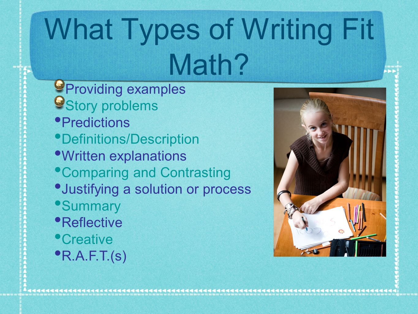 What Types of Writing Fit Math? Providing examples Story problems Predictions Definitions/Description Written explanations Comparing and Contrasting J