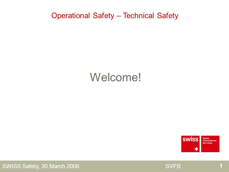 1 SWISS Safety, 30 March 2006 SVFB Welcome! Operational Safety – Technical Safety
