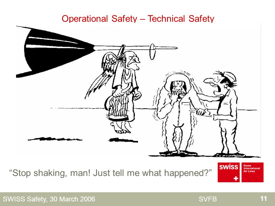 11 SWISS Safety, 30 March 2006 SVFB Operational Safety – Technical Safety Stop shaking, man.