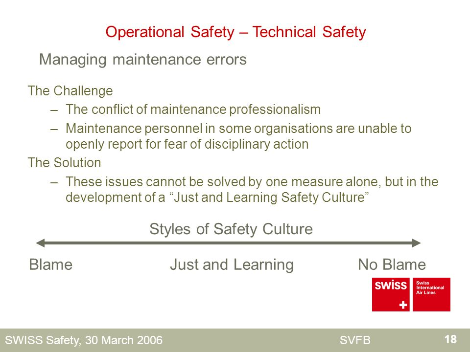 18 SWISS Safety, 30 March 2006 SVFB The Challenge –The conflict of maintenance professionalism –Maintenance personnel in some organisations are unable to openly report for fear of disciplinary action The Solution –These issues cannot be solved by one measure alone, but in the development of a Just and Learning Safety Culture Blame Just and Learning No Blame Styles of Safety Culture Operational Safety – Technical Safety Managing maintenance errors