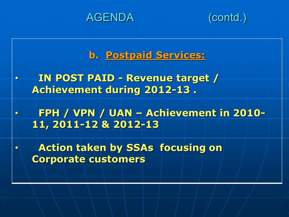 b.Postpaid Services: IN POST PAID - Revenue target / Achievement during 2012-13.