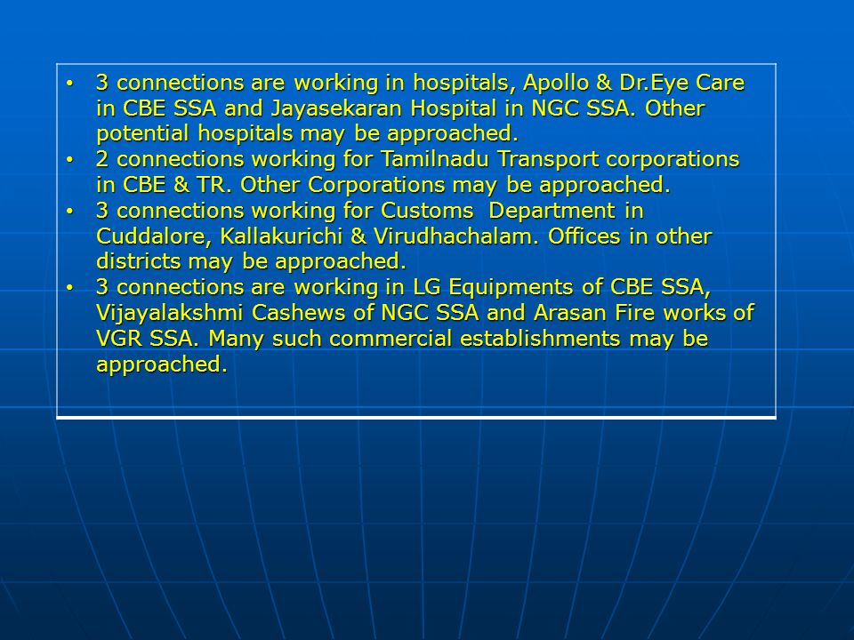 3 connections are working in hospitals, Apollo & Dr.Eye Care 3 connections are working in hospitals, Apollo & Dr.Eye Care in CBE SSA and Jayasekaran Hospital in NGC SSA.