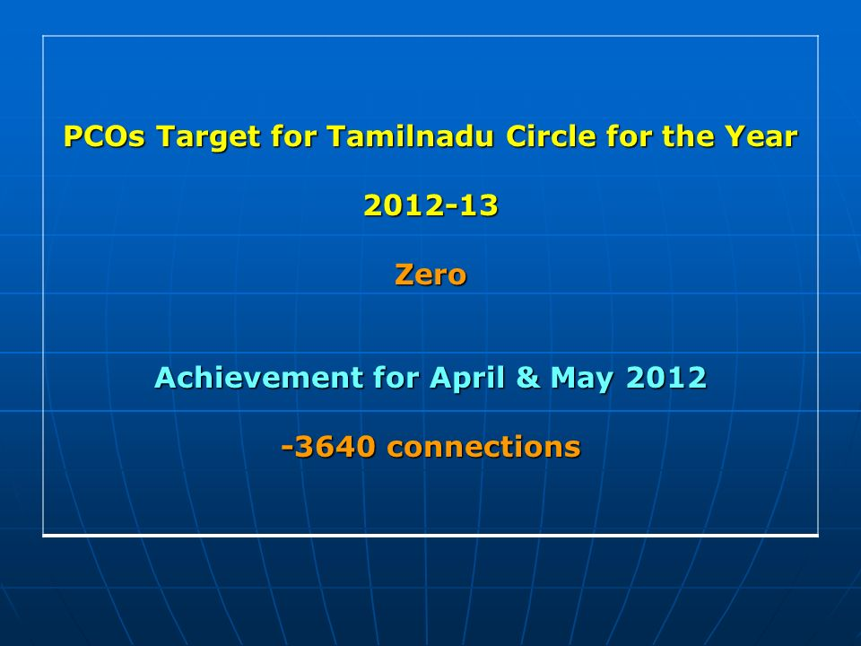 PCOs Target for Tamilnadu Circle for the Year 2012-13Zero Achievement for April & May 2012 -3640 connections