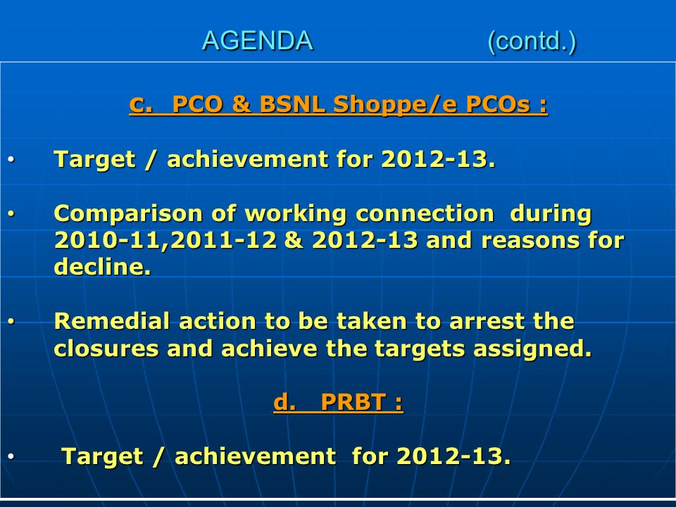 AGENDA (contd.) c. PCO & BSNL Shoppe/e PCOs : Target / achievement for 2012-13.