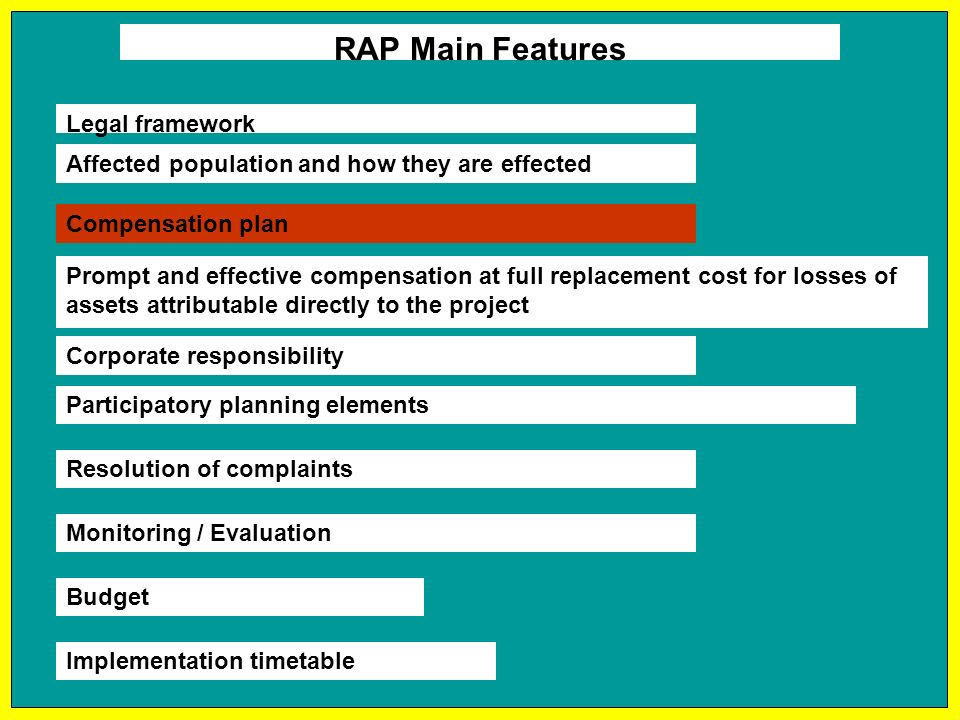 RAP Main Features Affected population and how they are effected Compensation plan Prompt and effective compensation at full replacement cost for losses of assets attributable directly to the project Budget Implementation timetable Corporate responsibility Participatory planning elements Resolution of complaints Monitoring / Evaluation Legal framework