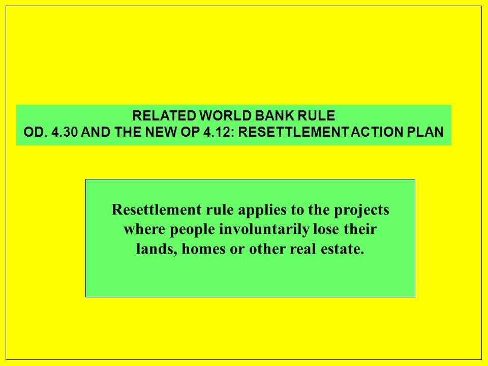 RELATED WORLD BANK RULE OD.