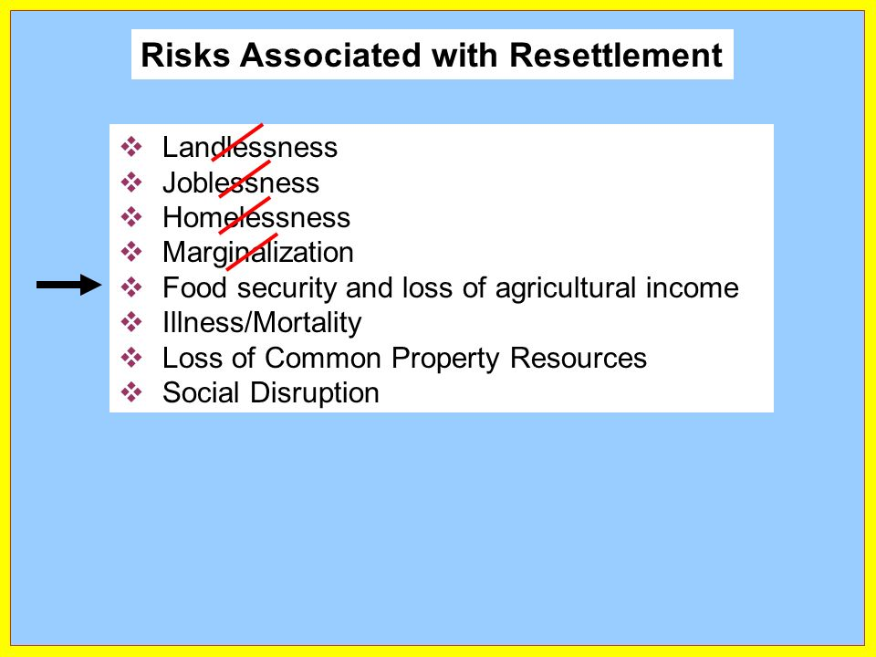 Landlessness Joblessness Homelessness Marginalization Food security and loss of agricultural income Illness/Mortality Loss of Common Property Resources Social Disruption Risks Associated with Resettlement