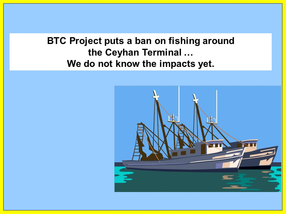 BTC Project puts a ban on fishing around the Ceyhan Terminal … We do not know the impacts yet.