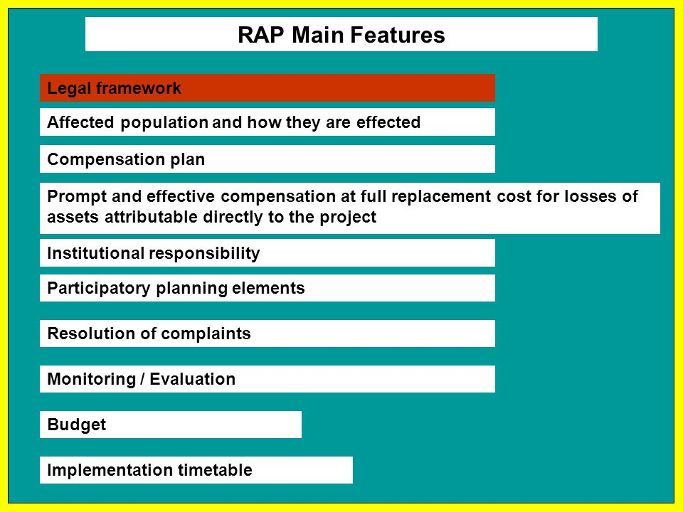 RAP Main Features Affected population and how they are effected Compensation plan Prompt and effective compensation at full replacement cost for losses of assets attributable directly to the project Budget Implementation timetable Institutional responsibility Participatory planning elements Resolution of complaints Monitoring / Evaluation Legal framework